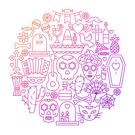 Day of the Dead Line Icon Circle Design.   Illustration of Holiday Objects Isolated over White.