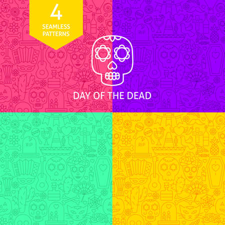 Line Day of the Dead Patterns. Four   Website Design Backgrounds. Stock Photo