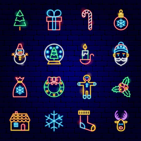 Merry Christmas Neon Icons. Vector Illustration of Winter Holiday Symbols.