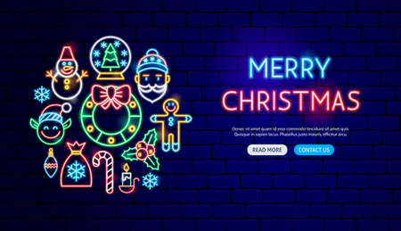 Merry Christmas Neon Banner Design. Vector Illustration of Winter Holiday Promotion.