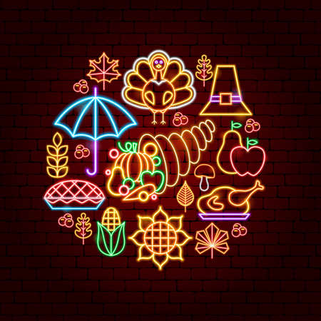 Happy Thanksgiving Day Neon Concept. Vector Illustration of Fall Holiday Promotion.