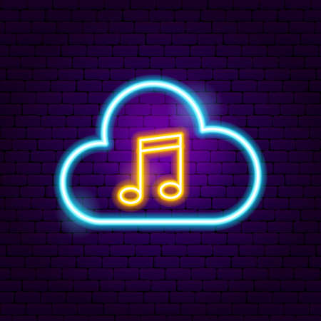 Cloud Music Neon Sign. Vector Illustration of Sound Promotion. Vettoriali