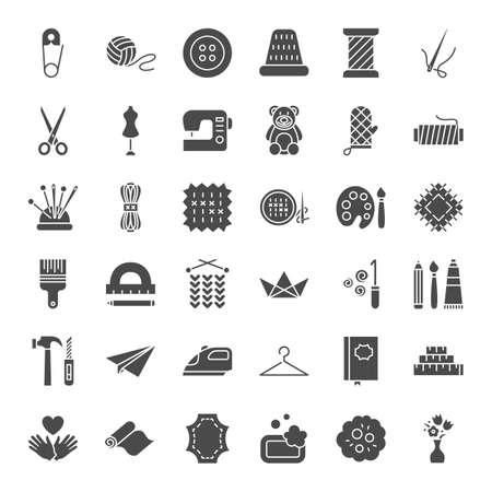 Handmade Solid Web Icons. Vector Set of Craft Glyphs.