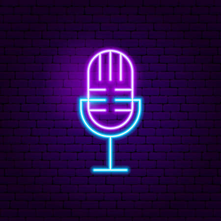 Live Microphone Neon Sign. Vector Illustration of Music Promotion.