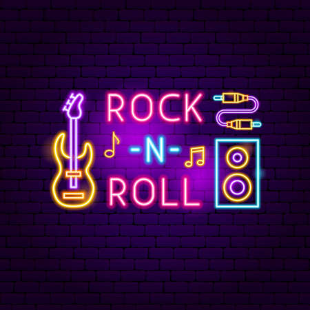 Rock N Roll Neon Sign. Vector Illustration of Music Promotion.