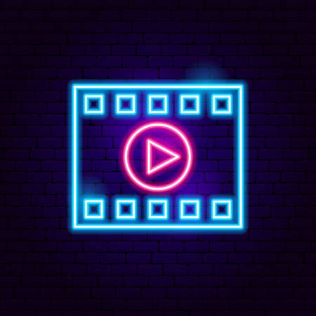 Film Strip Play Neon Sign. Vector Illustration of Cinema Promotion.