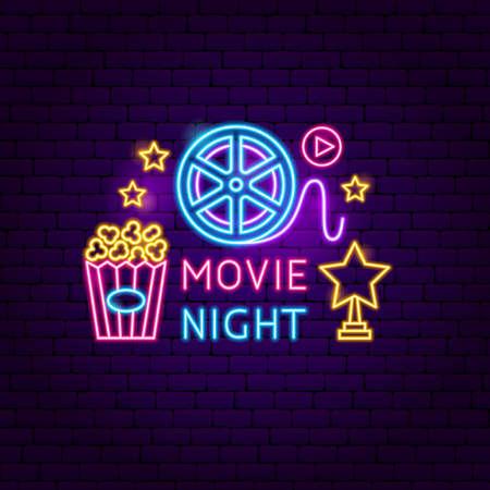Movie Night Neon Sign. Vector Illustration of Cinema Promotion.