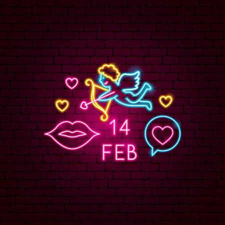 14 February Neon Label. Vector Illustration of Romance Promotion. Иллюстрация