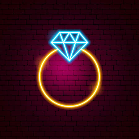 Ring with Diamond Neon Sign. Vector Illustration of Fashion Promotion.
