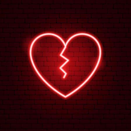 Gebrochenes Herz Leuchtreklame. Vektor-Illustration der Liebesförderung. Vektorgrafik