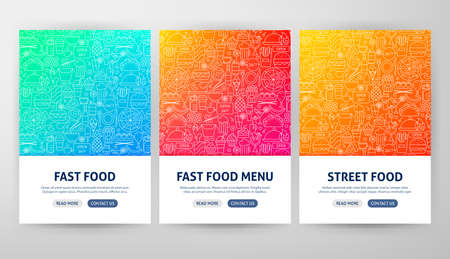 Fast Food Flyer Concepts. Vector Illustration of Outline Web Banner Design.