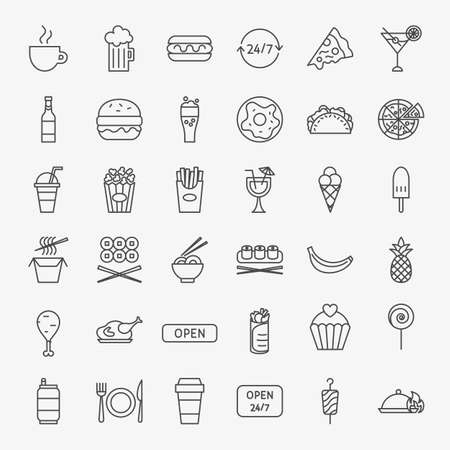 Fast Food Line Icons Set. Vector Thin Outline Cafe Symbols.
