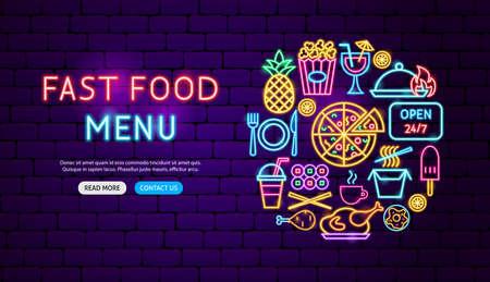 Fast Food Menu Neon Banner Design. Vector Illustration of Cafe Promotion. Illustration