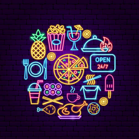 Fast Food Menu Neon Concept. Vector Illustration of Bar Promotion. Illustration
