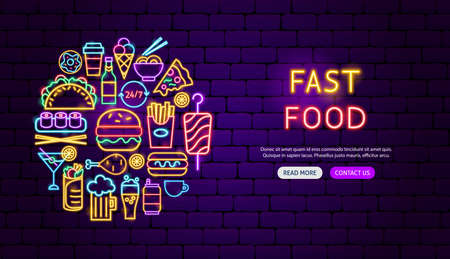 Fast Food Neon Banner Design. Vector Illustration of Menu Promotion.