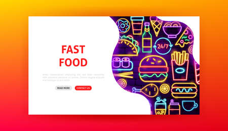 Fast Food Neon Landing Page. Vector Illustration of Street Menu Web Banner.