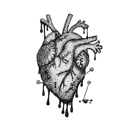 Dotwork coeur avec du sang. Illustration vectorielle de la conception de T-shirt. Croquis Dessiné à La Main De Tatouage.