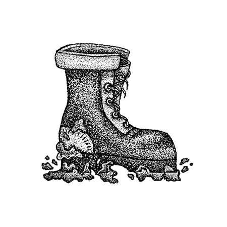 Dotwork Dirty Boot. Vector Illustration of T-shirt Design. Tattoo Hand Drawn Sketch. Vetores