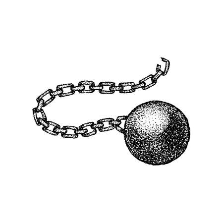 Dotwork Wrecking Ball Chain. Vector Illustration of T-shirt Design. Tattoo Hand Drawn Sketch.