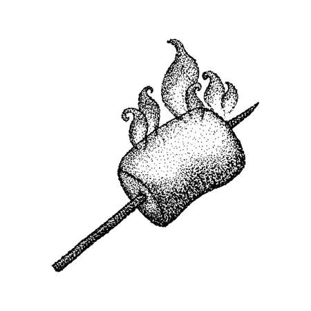 Dotwork Marshmallow with Fire. Vector Illustration of T-shirt Design. Tattoo Hand Drawn Sketch. Vector Illustration
