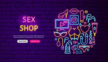 Sex Shop Neon Banner Design