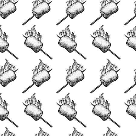 Dotwork Marshmallow Fire Seamless Pattern. Vector Illustration of Tattoo Hand Drawn Sketch.