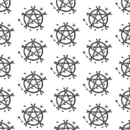 Dotwork Witch Pentagram Seamless Pattern. Vector Illustration of Tattoo Hand Drawn Sketch. Illustration