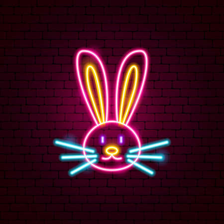 Rabbit Animal Neon Sign. Vector Illustration of Head Promotion.