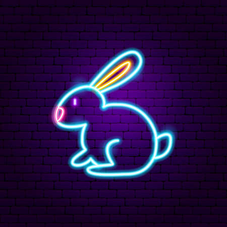 Rabbit Neon Sign. Vector Illustration of Animal Promotion. Illustration