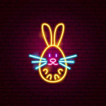 Bunny Neon Sign. Vector Illustration of Animal Promotion. Illustration
