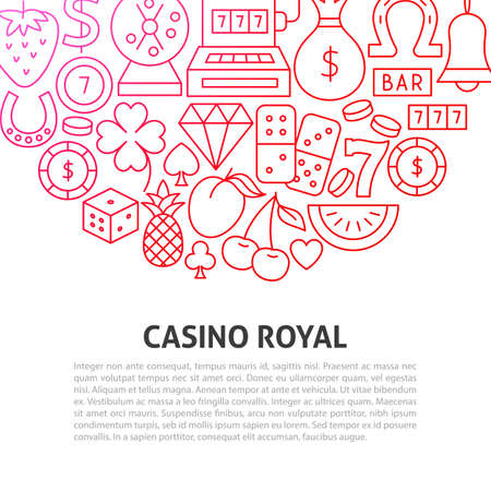 Casino Royal Line Concept. Vector Illustration of Outline Template.