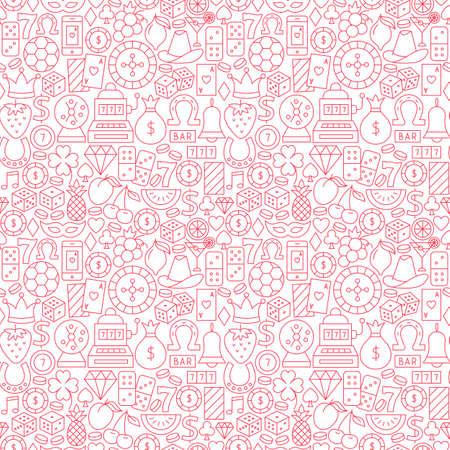 Casino Night Line Seamless Pattern. Vector Illustration of Outline Tileable Background. Illustration