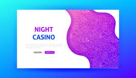 Night Casino Landing Page. Vector Illustration of Gamble Web Banner.
