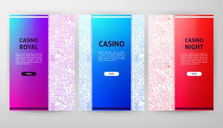 Casino Night Brochure Web Design. Vector Illustration of Outline Website Banner. Vectores