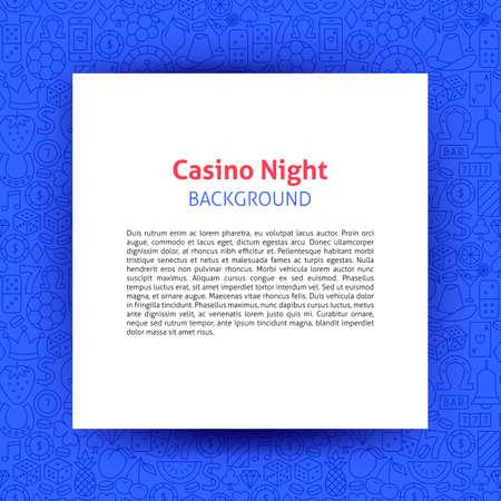 Casino Night Paper Template. Vector Illustration of Outline Design. Illustration