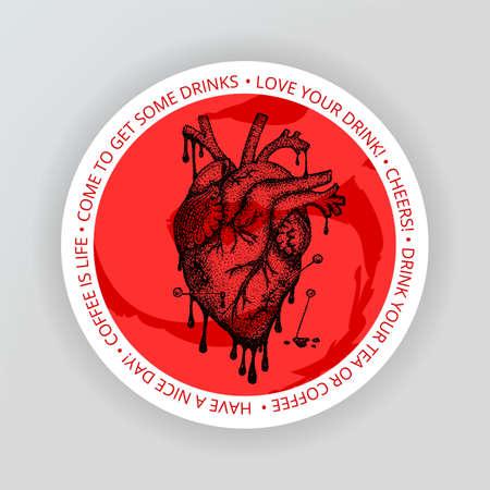 Heart Drink Coaster. Vector Illustration of Bar Design. Tattoo Hand Drawn Sketch.