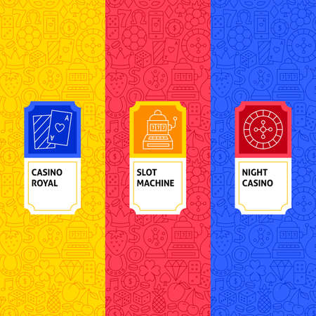 Line Casino Package Labels. Template for Packaging Design. Illustration