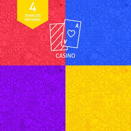 Line Casino Patterns. Four Vector Website Design Backgrounds.