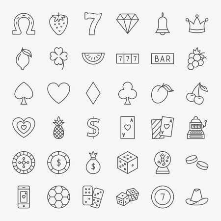 Casino Line Icons Set. Vector Thin Outline Games Symbols.