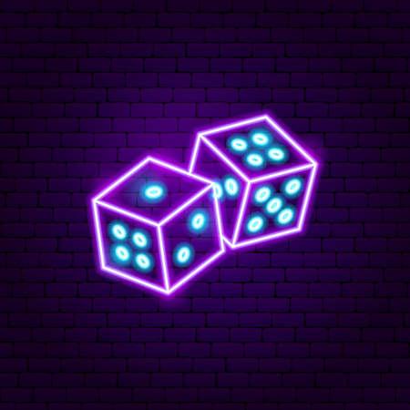 Devils Bones Neon Sign. Vector Illustration of Game Promotion. Illustration