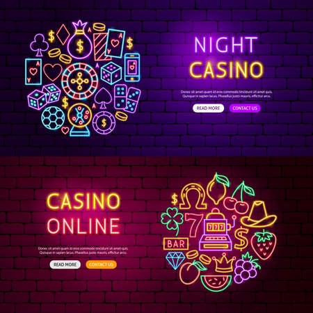 Casino Website Banners. Vector Illustration of Game Promotion.
