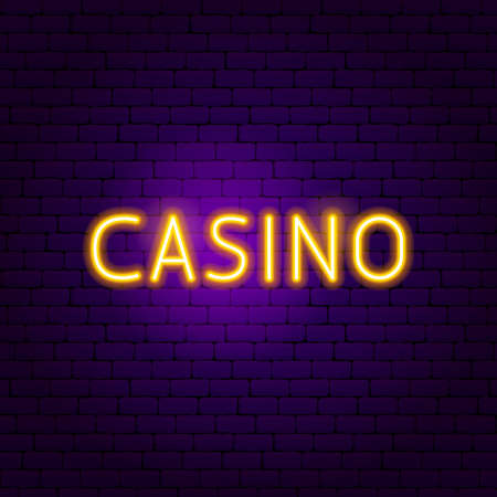 Casino Neon Sign. Vector Illustration of Game Promotion.