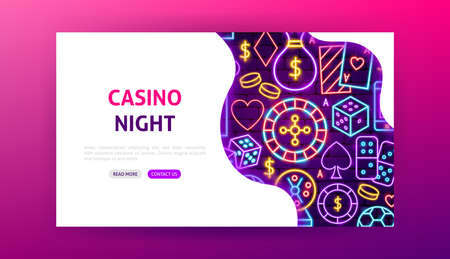 Casino Night Neon Landing Page. Vector Illustration of Game Promotion.