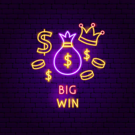 Big Win Neon Label. Vector Illustration of Game Promotion.