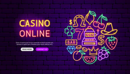 Casino Online Neon Banner Design. Vector Illustration of Game Promotion.
