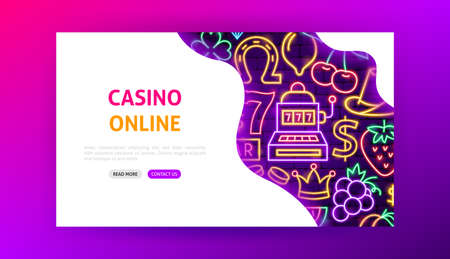 Casino Online Neon Landing Page. Vector Illustration of Game Promotion. Illustration
