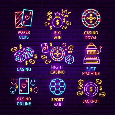 Casino Neon Label Set. Vector Illustration of Game Promotion.