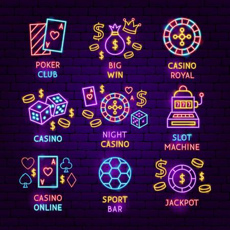 Casino Neon Label Set. Vector Illustration of Game Promotion.