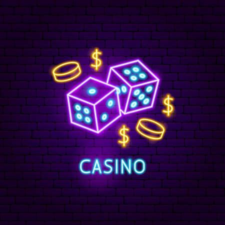 Casino Neon Label. Vector Illustration of Game Promotion. Illustration