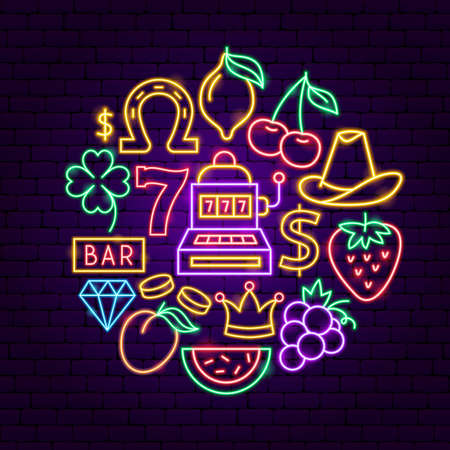 Casino Neon Concept. Vector Illustration of Game Promotion.
